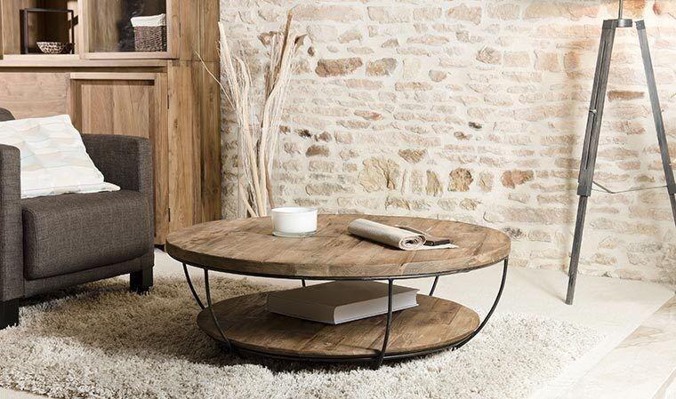 House and Garden TABLE BASSE RONDE SOUS PLATEAU TECK RECYCLÉ - TEKKHU