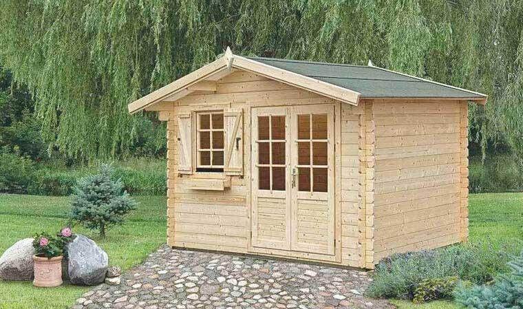House and Garden PETIT CHALET EN BOIS & TOIT EN SHINGLES, SOUBASSEMENT INCLUS 9M2 - PLANTAIN