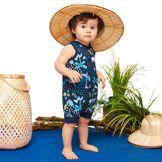 Petit Béguin Barboteuse bébé garçon débardeur bleue Pampa - Taille - 6 mois