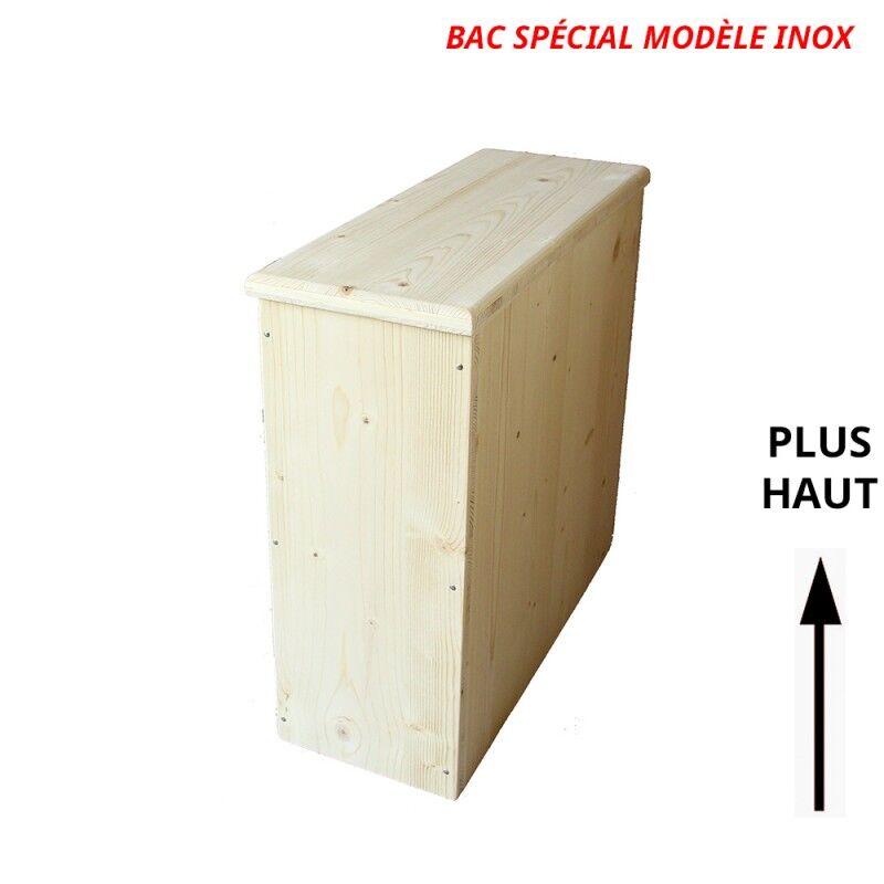 Bac à copeaux de bois avec couvercle - rehaussé - spécial modèle inox