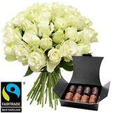 Interflora Brassée de roses blanches et son ballotin de chocolats offert