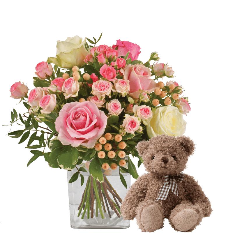 Interflora Vanille fraise et son ourson - Bouquet de roses - Livraison Fleurs Interflora