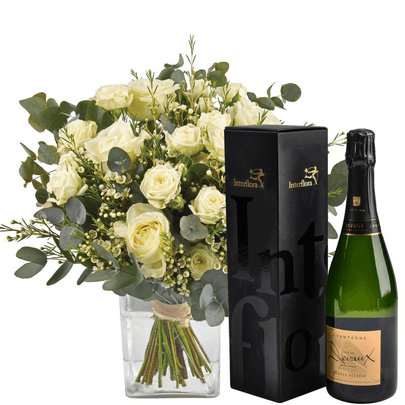 Interflora Bouquet de Fleurs et Champagne - Livraison en 4H - Interflora - Idée Cadeau Anniversaire