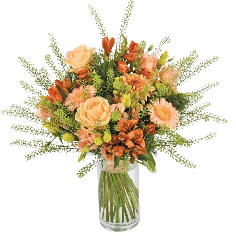 Interflora Eté Indien : bouquet de fleurs variées saumon et orangé