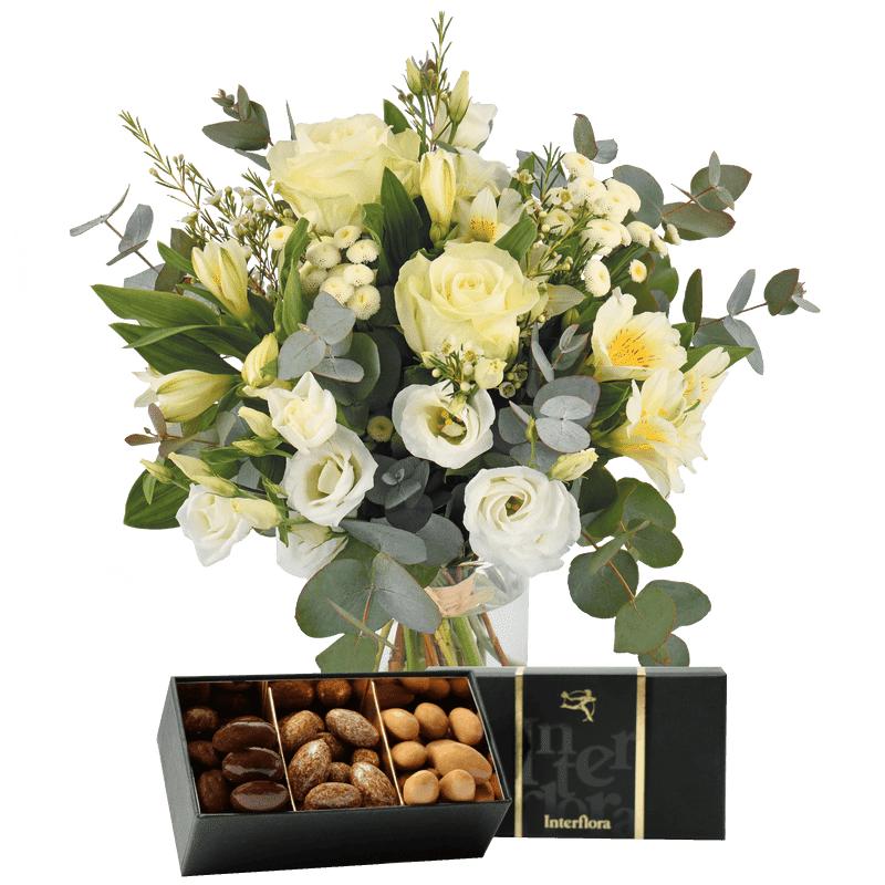 Interflora Livraison Fleurs et Chocolats : Paradis blanc et ses amandes au chocolat - Interflora