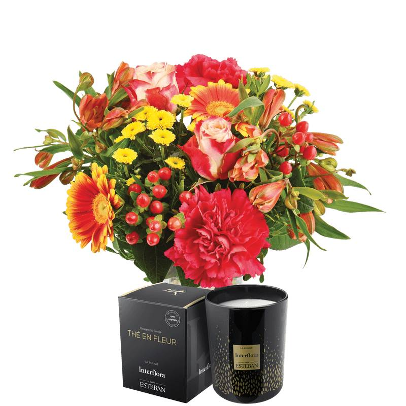 Interflora Bouquet et Bougie - Livraison Fleurs et Cadeaux Interflora