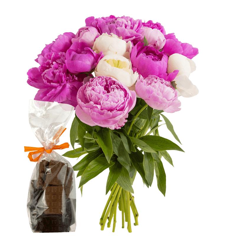 Interflora Brassée de pivoines et ses mini tablettes de chocolat - Livraison Interflora en 24H