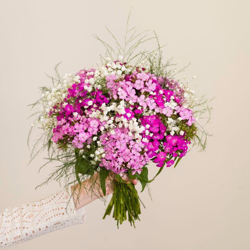 Interflora Brassée d'Oeillets de poète et Gypsophile et son vase - Interflora