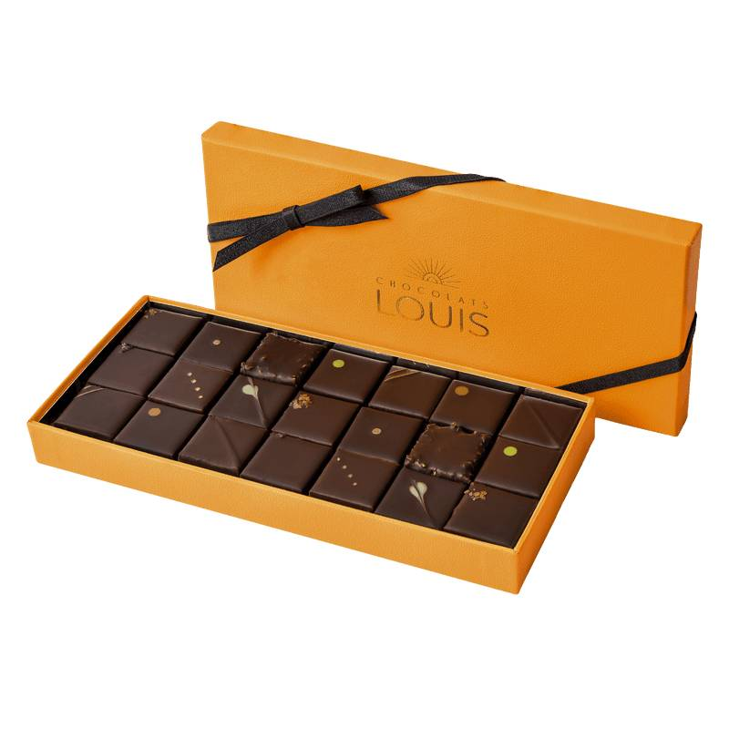 Interflora Assortiment de ganaches et pralinés chocolat noir X 21 - Chocolats Louis - Livraison Interflora