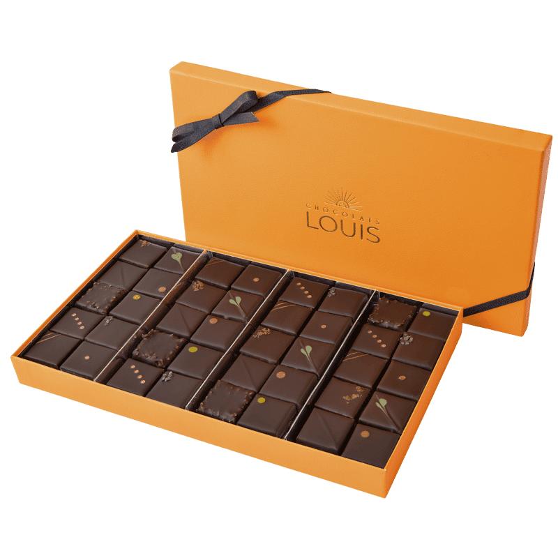 Interflora Assortiment de ganaches et pralinés chocolat noir X 40 - Chocolats Louis - Livraison Interflora