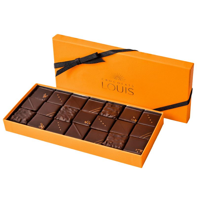 Interflora Coffret pralinés chocolat noir X 21 - Chocolats Louis - Livraison par Chronopost - L'atelier Interflora - Interflora