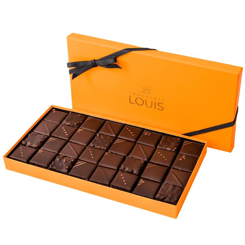 Interflora Coffret pralinés chocolat noir X 32 - Chocolats Louis - Livraison par Chronopost - L'atelier Interflora - Interflora