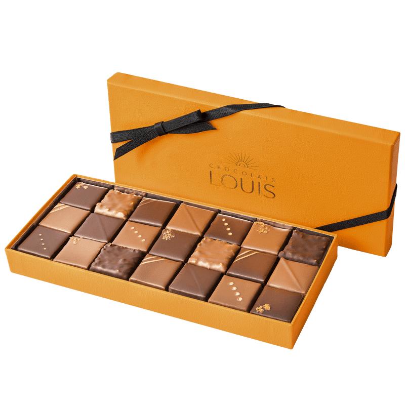 Interflora Coffret pralinés chocolat noir et lait X 21 - Chocolats Louis - Livraison par Chronopost - L'atelier Interflora - Interflora