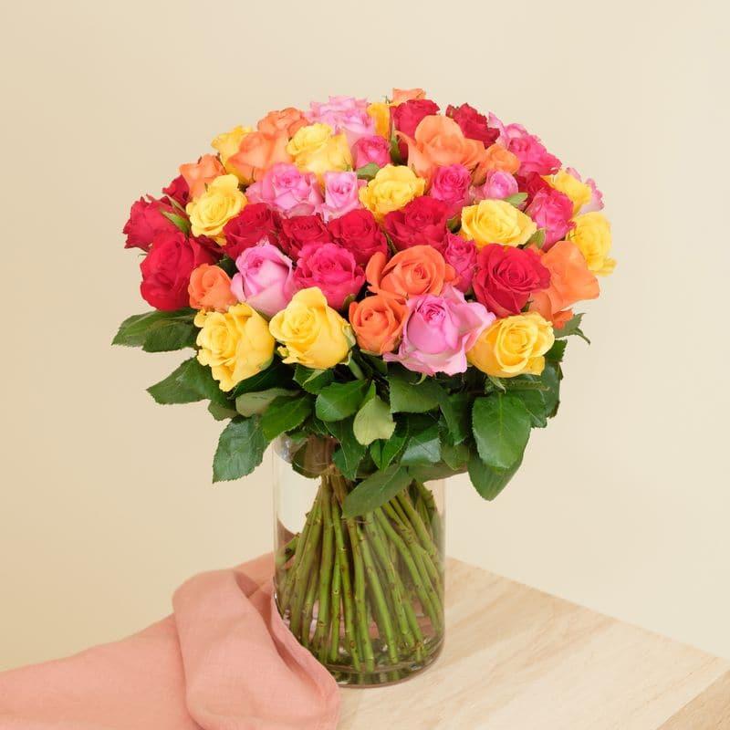 Interflora Livraison Fleurs Interflora - Bouquet de 40 roses multicolores Max Havelaar