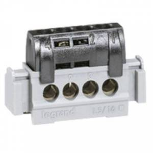 LEGRAND Bornier de répartition isolé IP2X phase - 4 connexions 1,5mm² à 16mm²- noir - L.47mm - Publicité