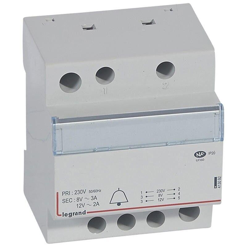 LEGRAND Transformateur pour sonnerie 230V vers 12V ou 8V - 24VA - 4 modules