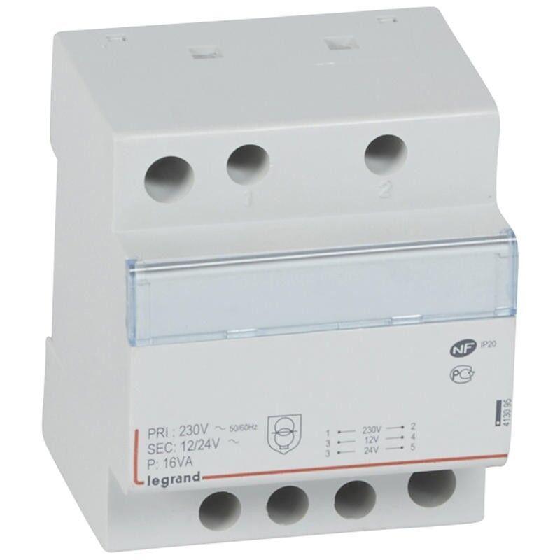 LEGRAND Transformateur de sécurité 230V vers 12V ou 24V - 16VA - 4 modules