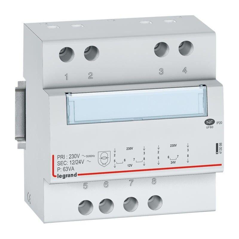 LEGRAND Transformateur de sécurité 230V vers 12V ou 24V - 63VA - 5 modules
