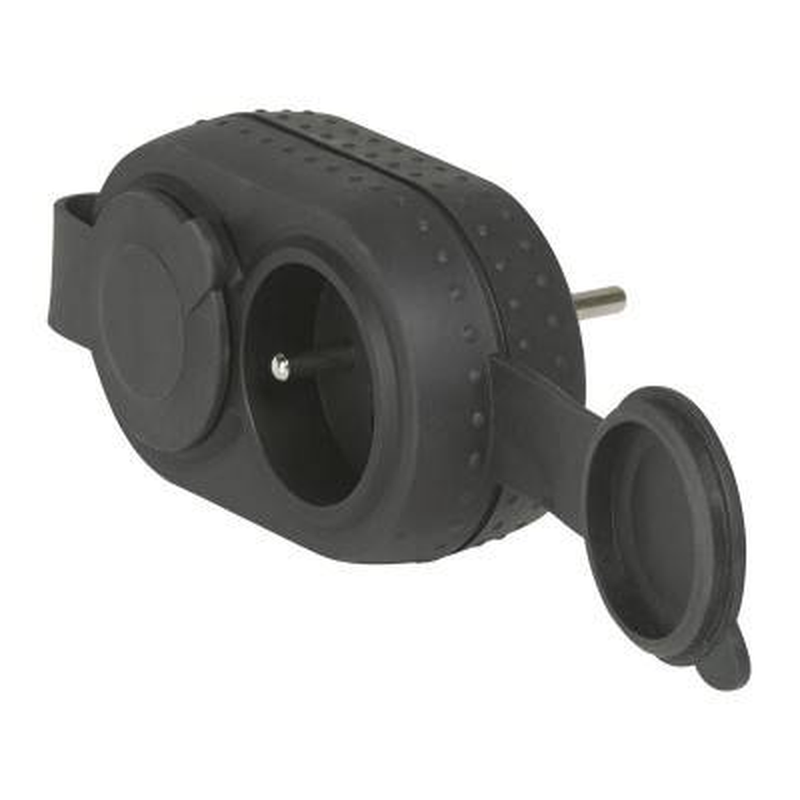 LEGRAND Fiche multiprises 2 prises de courant 2P+T 16A 230V avec sorties frontales antichoc avec bouchons IP44 - noir