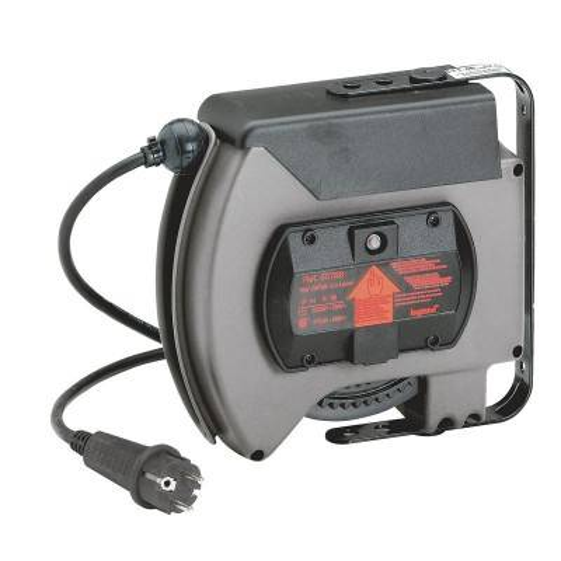 LEGRAND Enrouleur à rappel automatique avec socle mobile 2P+T équipé d'un bouchon brochage domestique et 10m de câble 3G 1,5mm²