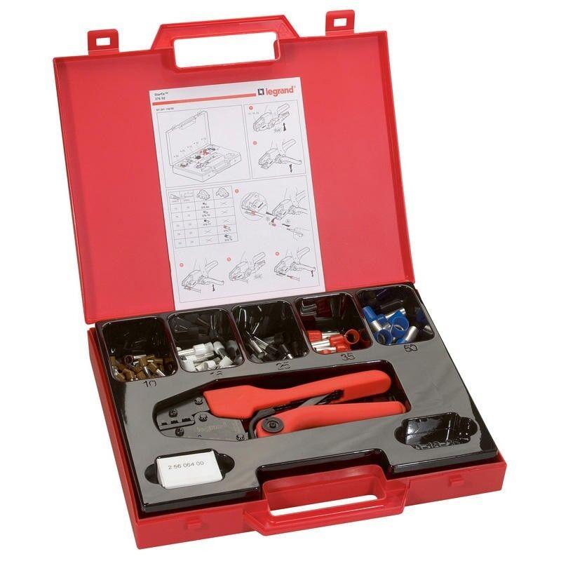 LEGRAND Pince à sertir 4 points Starfix pour embouts simples ou doubles unitaires sections 10mm² à 50mm² - mallette avec embouts