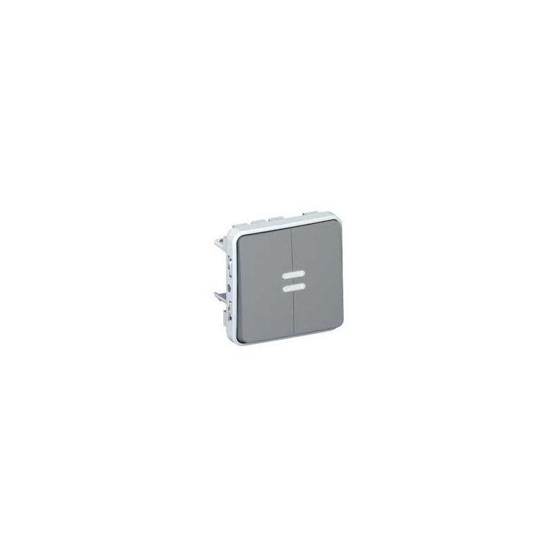LEGRAND Interrupteur ou va-et-vient lumineux + poussoir inverseur NO+NF lumineux PLEXO composable IP55 10AX 250V - gris