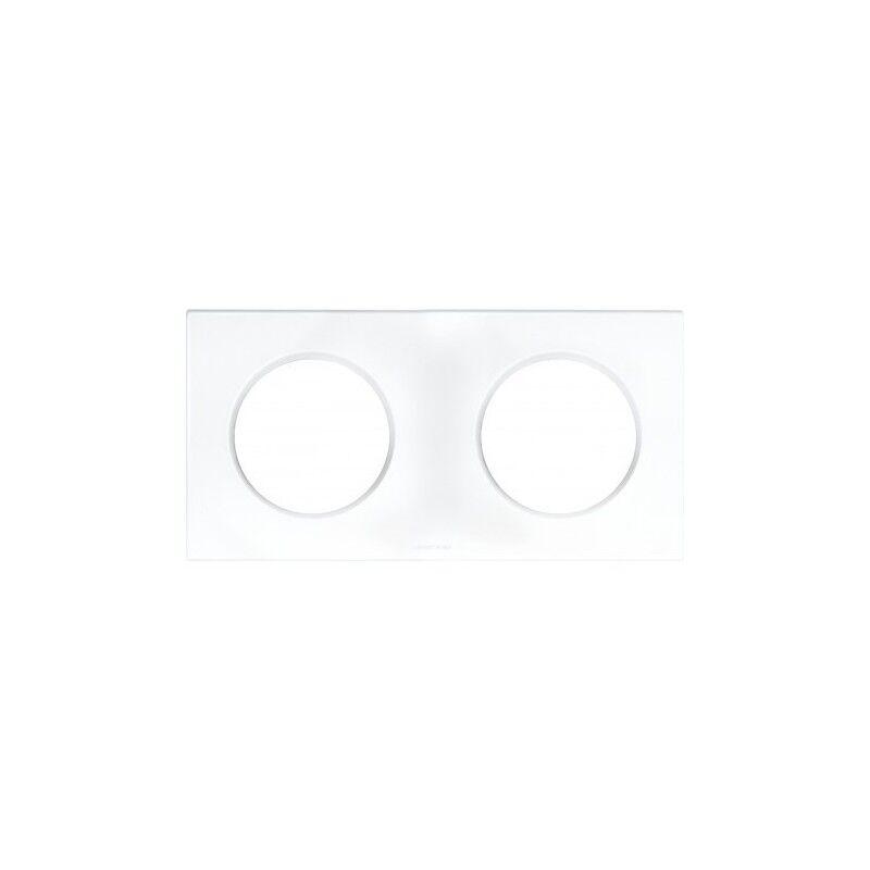 EUR'OHM Plaque carrée 2 postes SQUARE - Entraxe 71mm - Blanc
