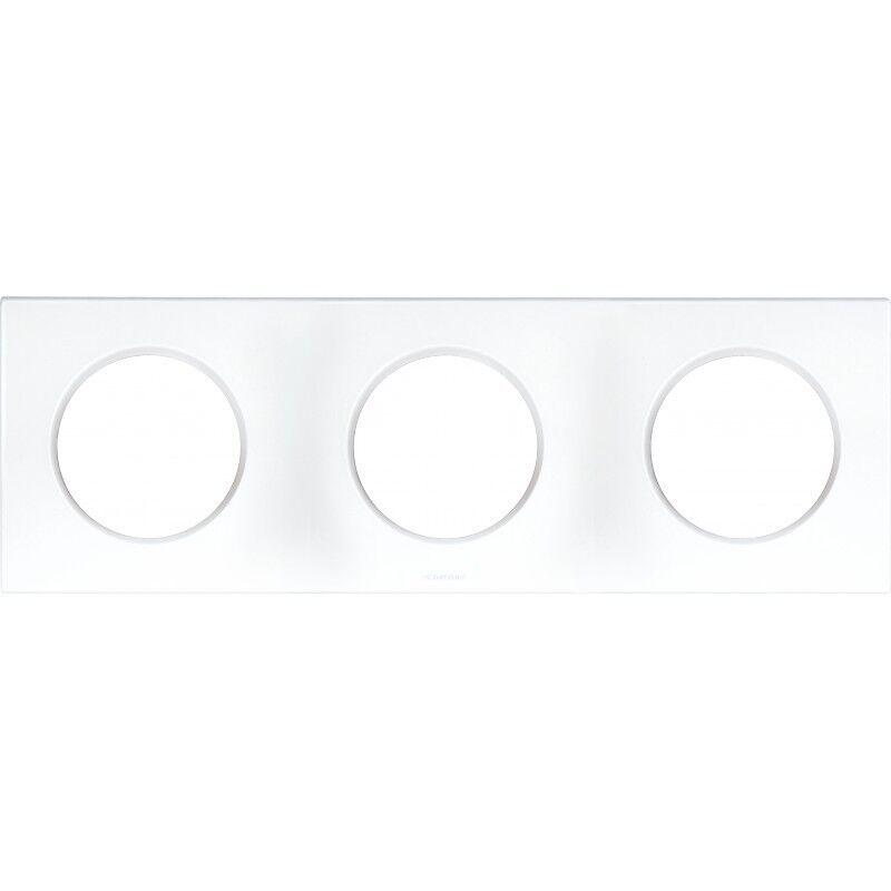 EUR'OHM Plaque carrée 3 postes SQUARE - Entraxe 71mm - Blanc