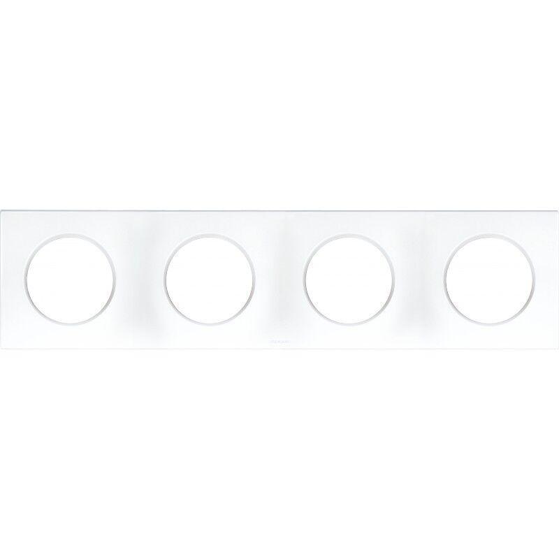 EUR'OHM Plaque carrée 4 postes SQUARE - Entraxe 71mm - Blanc