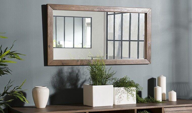 Miroir avec cadre en bois d'acac...