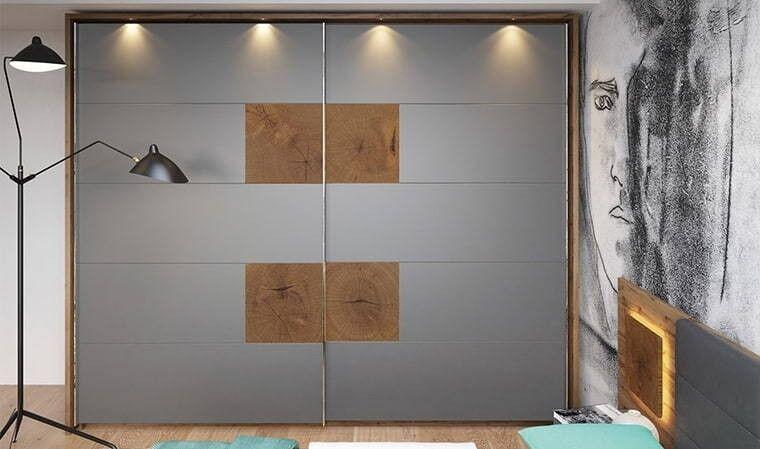Dressing 2 portes coulissantes gris et chêne - Arezzo