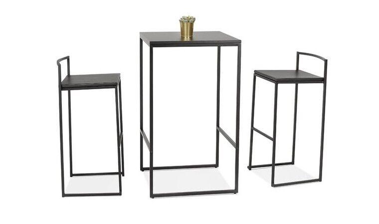 Table bar carrée industrielle noire - Dundee