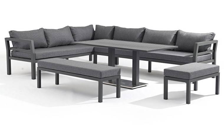 SALON DE JARDIN 12 PLACES EN ALU GRIS ANTHRACITE - CHICAGO