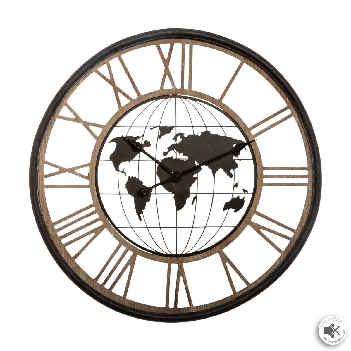 "Atmosphera Horloge ""Monde"", métal D67 cm"
