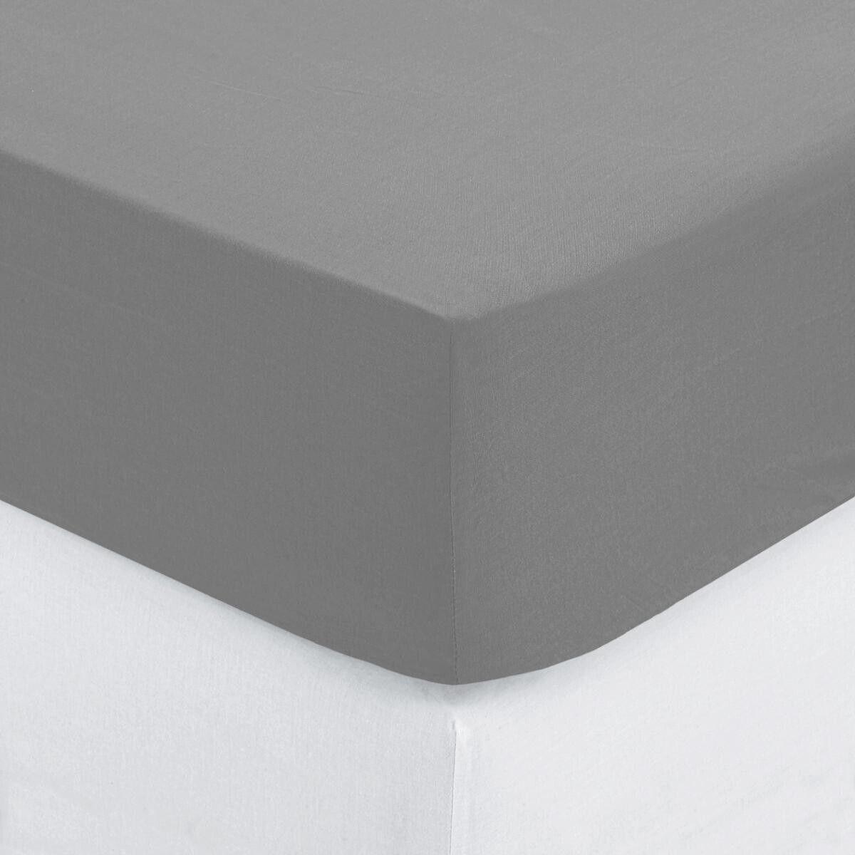 Atmosphera Drap housse en coton, gris, bonnet H30cm, 140x190 cm DTE_2021 Unisexe
