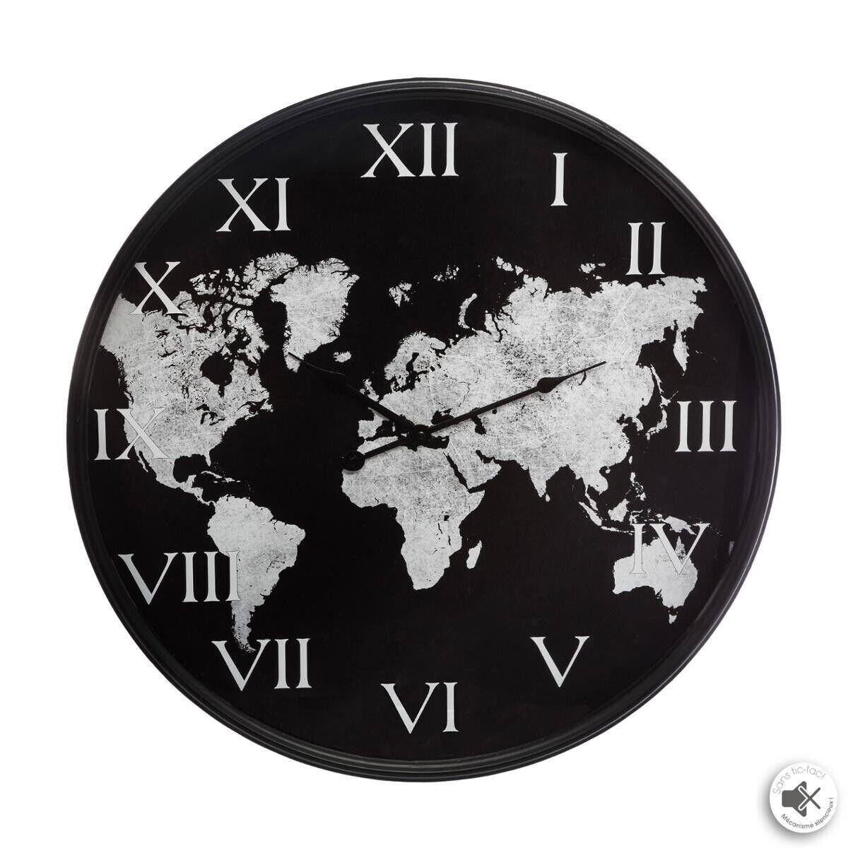 """Atmosphera Horloge """"Monde"""" noire, métal D57 cm"""
