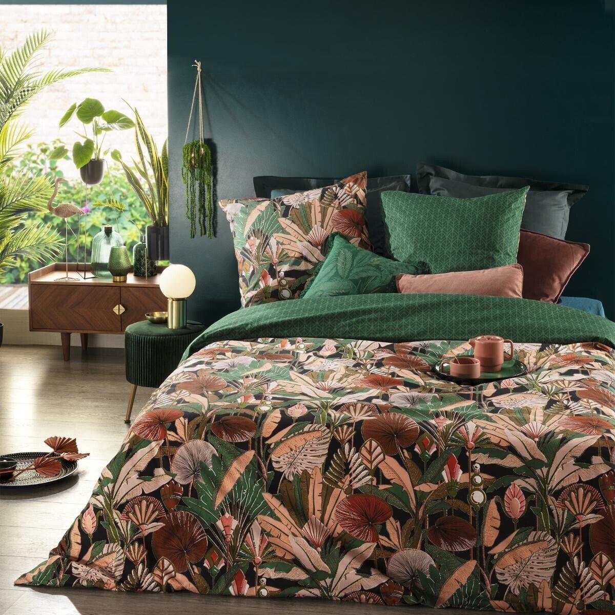 Atmosphera Parure de lit 'Art Déco Forêt' en coton 240x220 cm DTE_2021 Unisexe