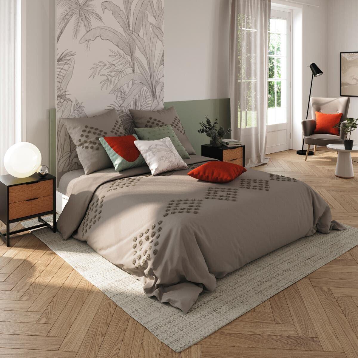 Atmosphera Parure de lit en coton lavé tufté, gris 240x220 cm DTE_2021 Unisexe