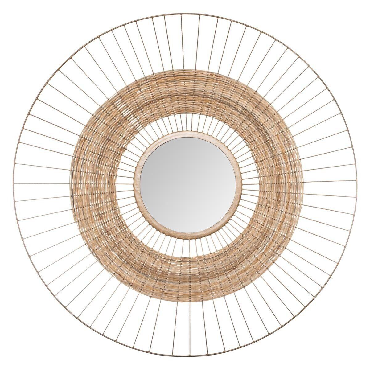 "Atmosphera Miroir ""Cheraw"", métal fibre naturelle D75 cm"