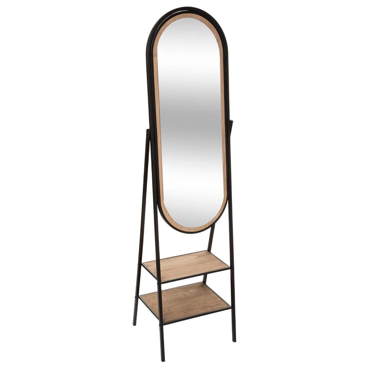 """Atmosphera Miroir sur pied """"Mael"""" noir, métal bois 160x44 cm"""