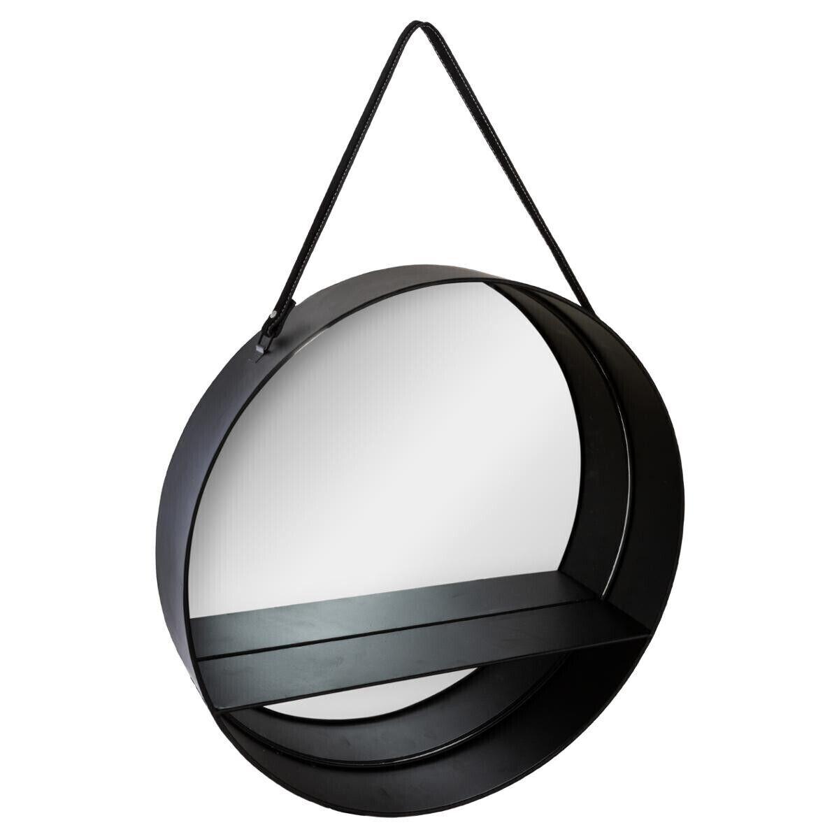 """Atmosphera Miroir étagère """"Ceinture"""" noir, métal D55 cm"""