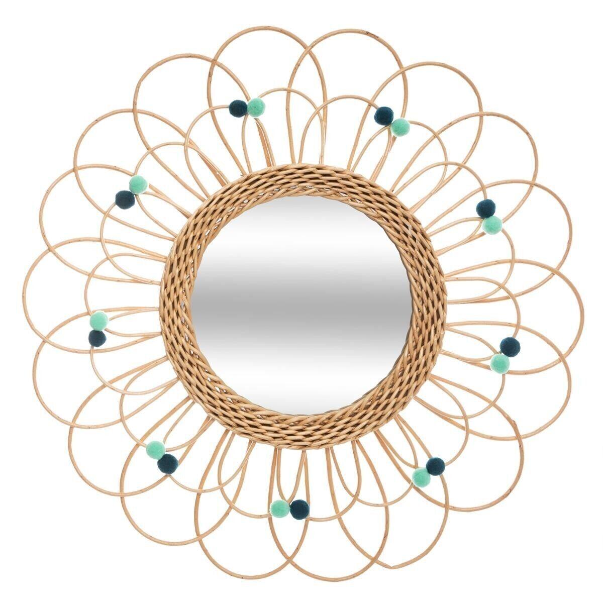 Atmosphera Miroir Fleur en rotin D56