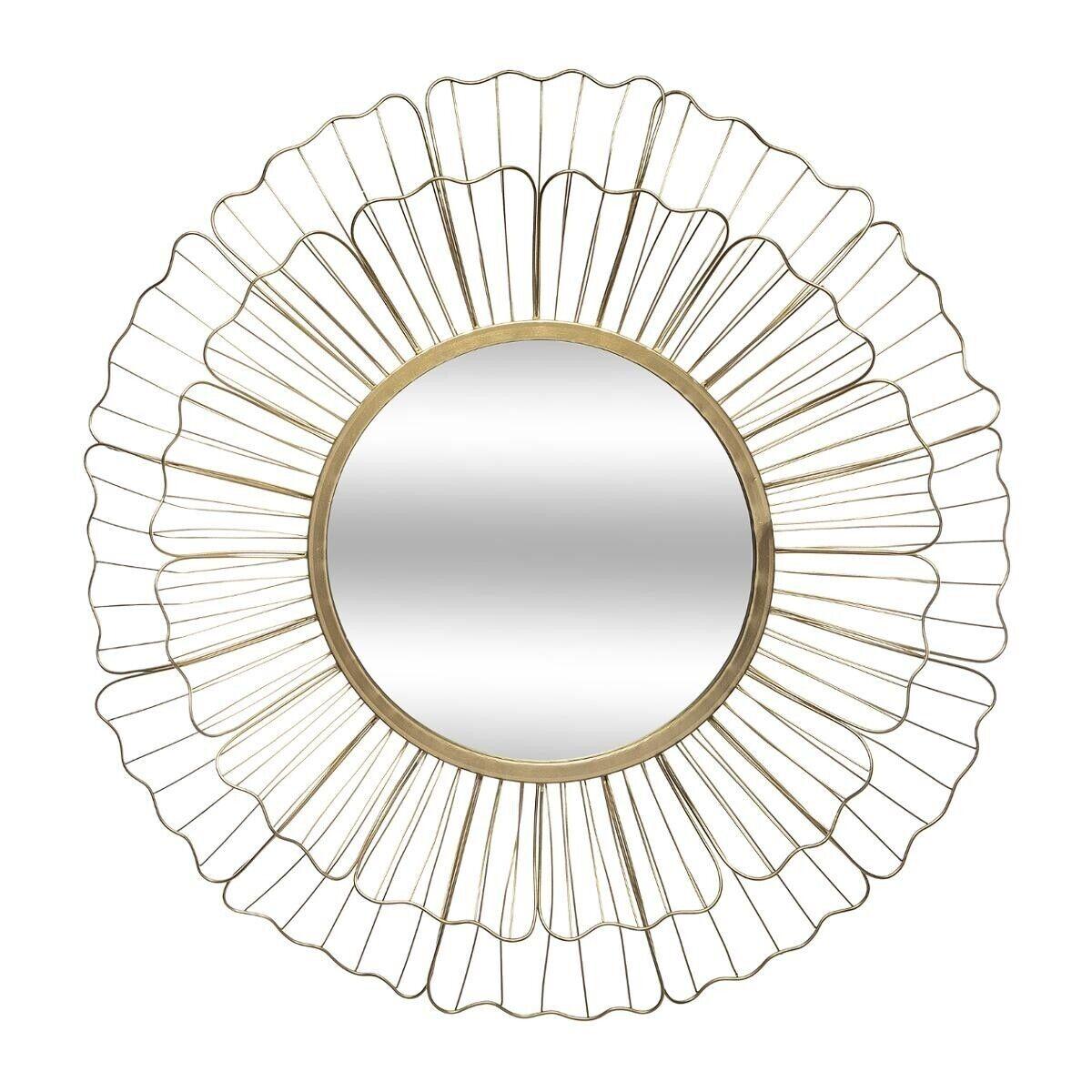 Atmosphera Miroir 'Fleur', métal doré D67 cm