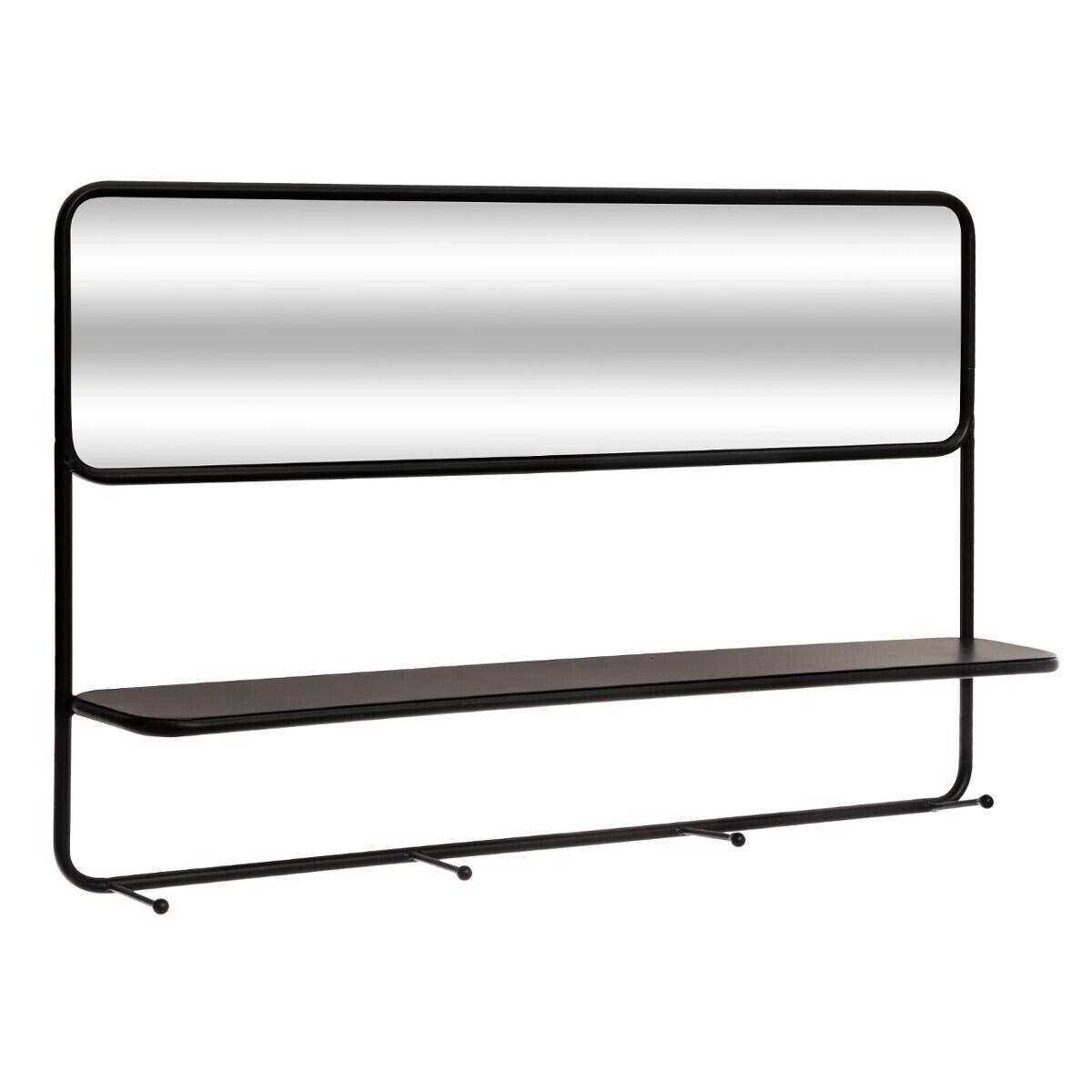 Atmosphera Miroir étagère à crochets en verre et acier