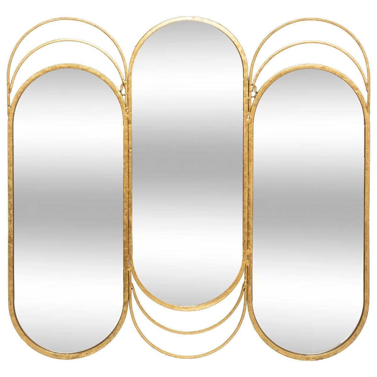Atmosphera Miroir triptyque 'Edi' doré, métal 72x69 cm
