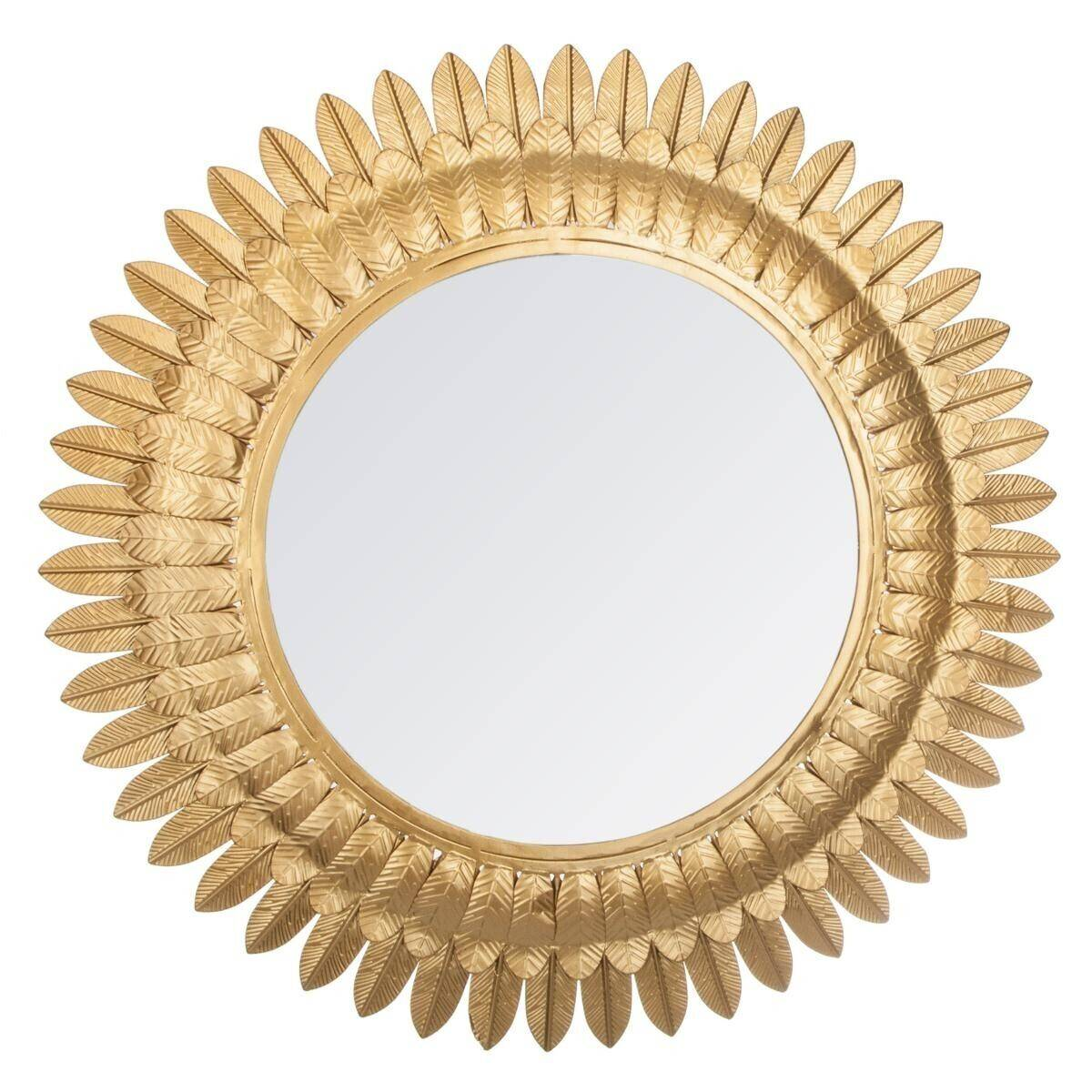 "Atmosphera Miroir ""Feuilles d'or"", métal D70 cm"