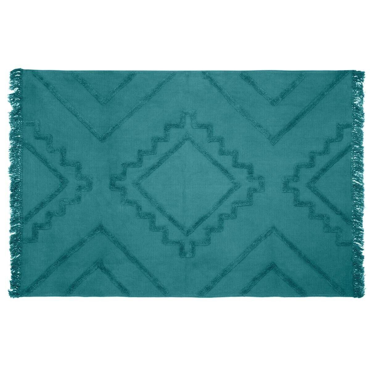 "Atmosphera Tapis en coton tufté ""Inca"" bleu 120x170 cm"