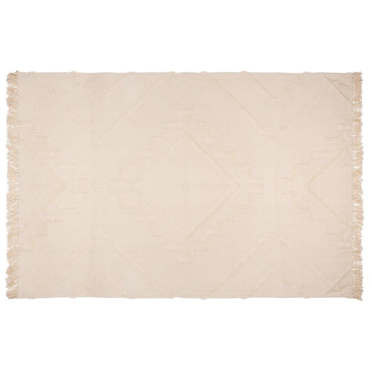 """Atmosphera Tapis en coton tufté """"Inca"""" ivoire 120x170 cm"""