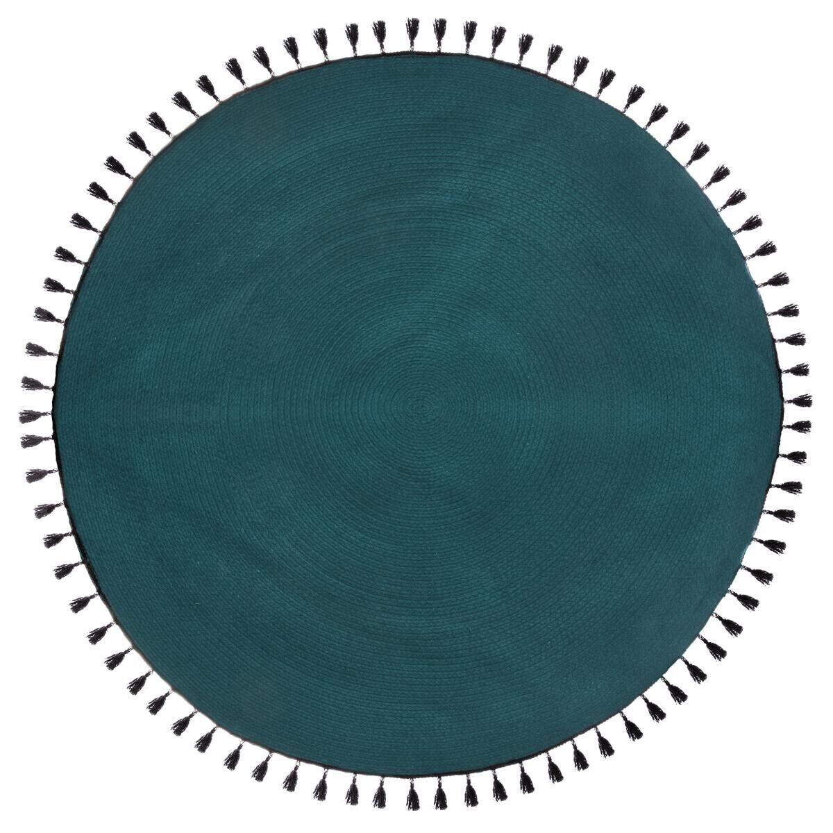 "Atmosphera Tapis ""Pop"" bleu canard en coton D120 cm"