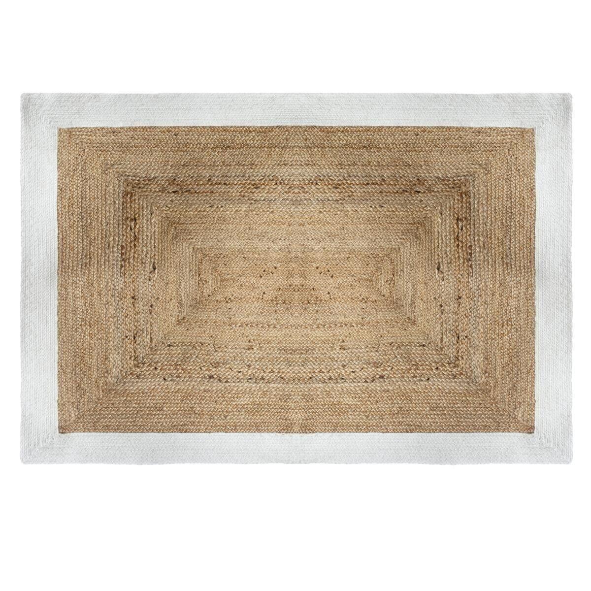 Atmosphera Tapis en jute bord blanc 120x170 cm